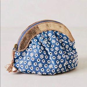 NWT Anthropologie Eyelet Garden Pouch blue purse